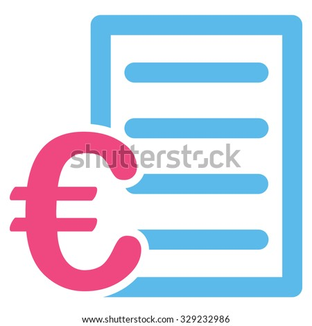 Euro Pricelist vector icon. Style is bicolor flat symbol, pink and blue colors, rounded angles, white background.