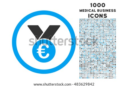 Euro Prize Medal rounded vector bicolor icon with 1000 medical business icons. Set style is flat pictograms, blue and gray colors, white background.