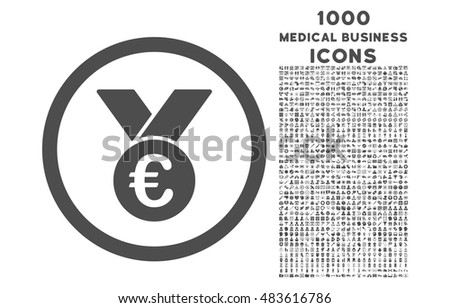 Euro Prize Medal rounded vector icon with 1000 medical business icons. Set style is flat pictograms, gray color, white background.