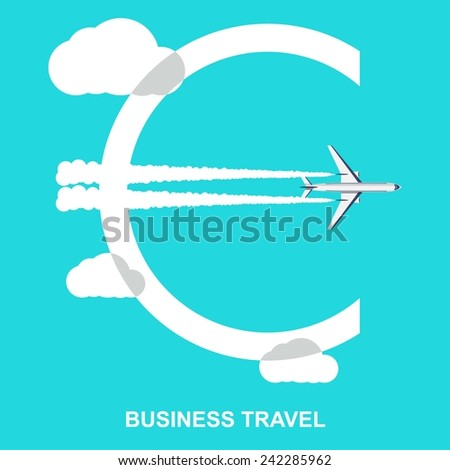 Euro sign from the clouds and the trace of the plane . Creative start concept. Vector illustration. Flat design  - stock vector