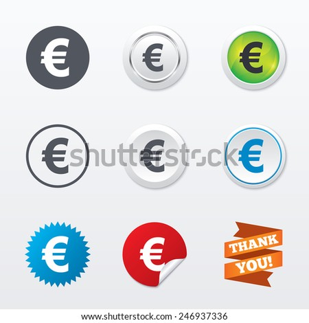 Euro sign icon. EUR currency symbol. Money label. Circle concept buttons. Metal edging. Star and label sticker. Vector - stock vector