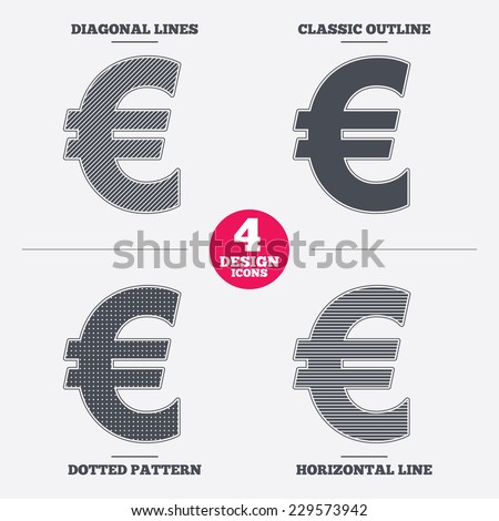 Euro sign icon. EUR currency symbol. Money label. Diagonal and horizontal lines, classic outline, dotted texture. Pattern design icons.  Vector - stock vector