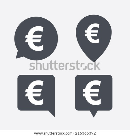 Euro sign icon. EUR currency symbol. Money label. Map pointers information buttons. Speech bubbles with icons. Vector - stock vector