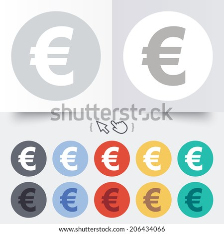 Euro sign icon. EUR currency symbol. Money label. Round 12 circle buttons. Shadow. Hand cursor pointer. Vector - stock vector
