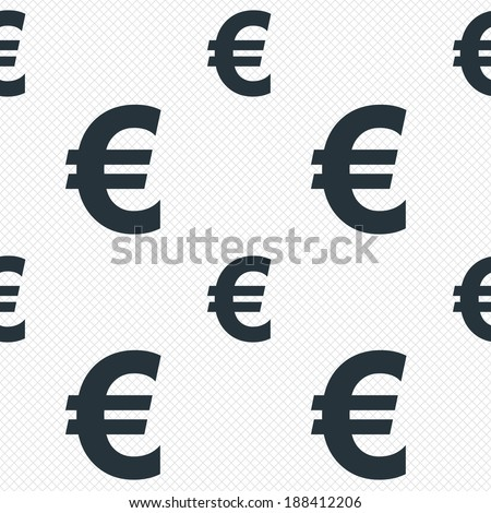 Euro sign icon. EUR currency symbol. Money label. Seamless grid lines texture. Cells repeating pattern. White texture background. Vector - stock vector