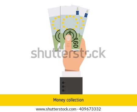 Euro sign icon. Euro in hand. Three Euro . Euro banknote icon art. Euro sign icon new. Euro banknote big. Best Euro illustration. isolated Euro in hand. Euro banknote. Euro cash. - stock vector