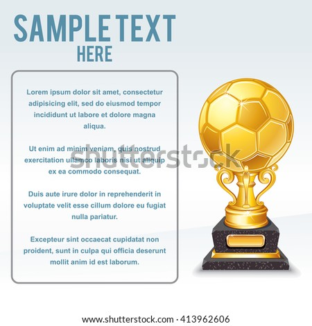 Euro Soccer. Golden Cup Vector. Ready for Your Text and Design. - stock vector