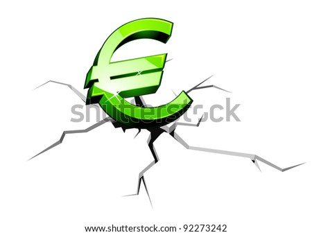 Euro symbol down for crisis or recession concept. Jpeg version also available in gallery - stock vector