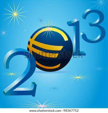 Euro symbol in 2013 New Year - stock vector