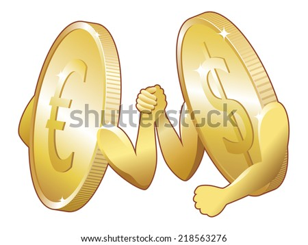 Euro vs Dollar. Competition between US Dollar and European Euro. - stock vector