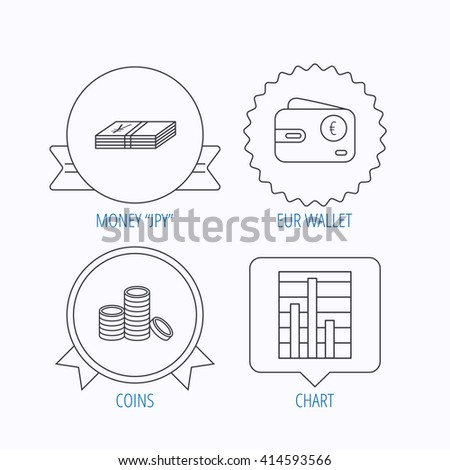 Euro wallet, cash money and chart icons. Coins linear sign. Award medal, star label and speech bubble designs. Vector - stock vector