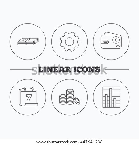 Euro wallet, cash money and chart icons. Coins linear sign. Flat cogwheel and calendar symbols. Linear icons in circle buttons. Vector - stock vector