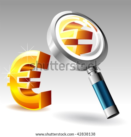 euro with magnify glass