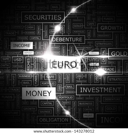 EURO. Word cloud concept illustration.