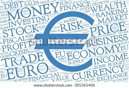 Euro word cloud with symbol of currency, blue text on white background - stock vector