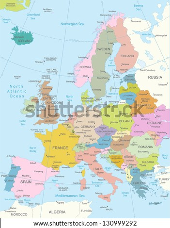 Europa-highly detailed map.All elements are separated in editable layers clearly labeled. Vector - stock vector