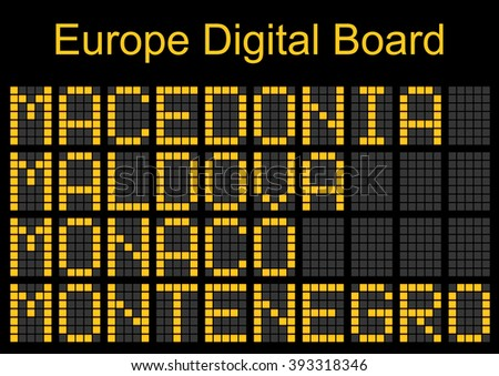 Europe airport digital boarding for Macedonia,Malta,Moldova,Monaco,Montenegro