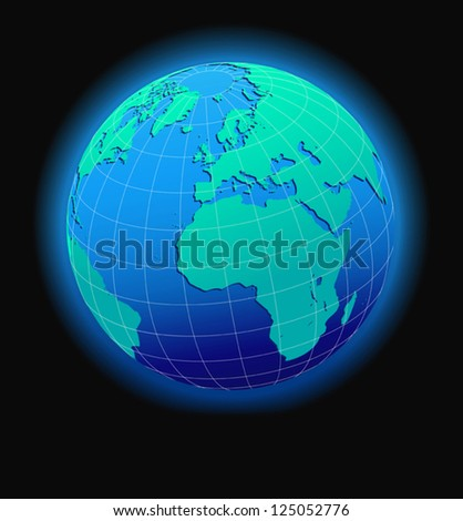 Europe and Africa, Global World in Space - stock vector