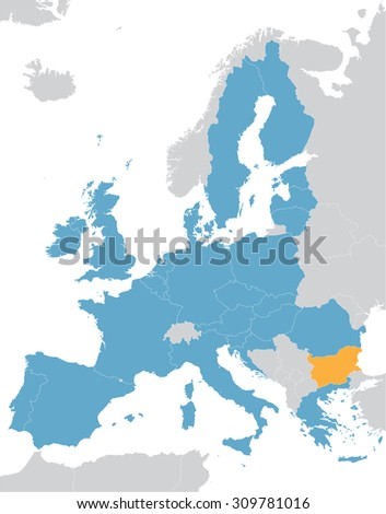 Europe and European Union map with indication of Bulgaria
