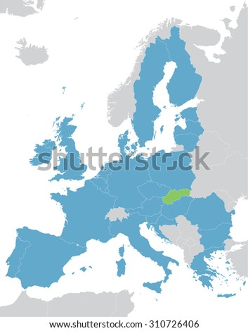 Europe and European Union map with indication of Slovakia