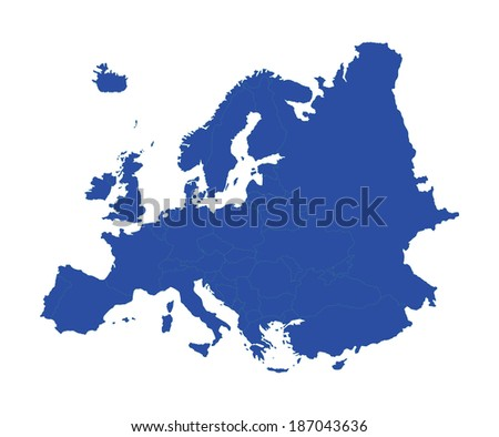 Europe blue vector map isolated on white background. High detailed illustration. - stock vector