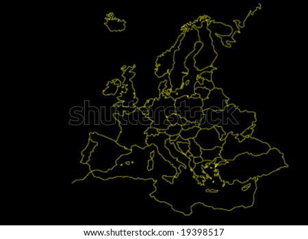 Europe Continent Map - yellow version