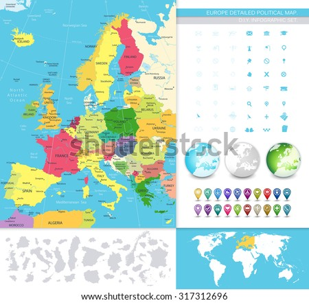 Europe detailed political map. D.I.Y.infographic set.All elements are separated in editable layers clearly labeled. All layers are subscribed. - stock vector