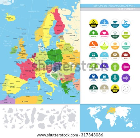 Europe detailed political map.Flat icon set.All elements are separated in editable layers clearly labeled. All layers are subscribed. - stock vector