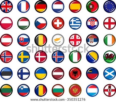 Europe Flag Button Set. Set of vector graphic glossy buttons representing flags of European countries. - stock vector