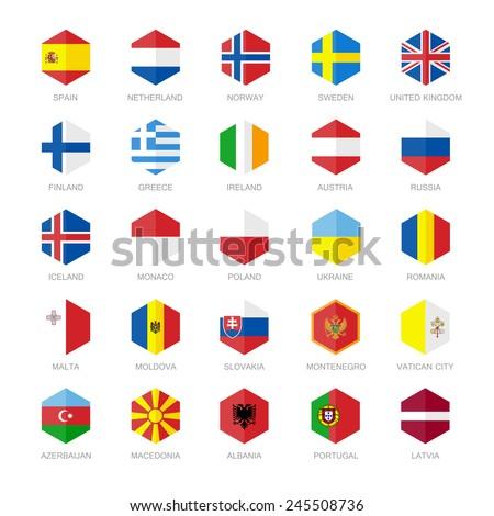 Europe Flag Icons. Hexagon Flat Design. - stock vector