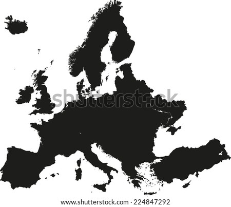 Europe high detailed vector map  - stock vector