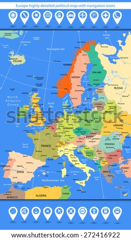 Europe highly detailed political map with navigation icons. Vector illustration. - stock vector