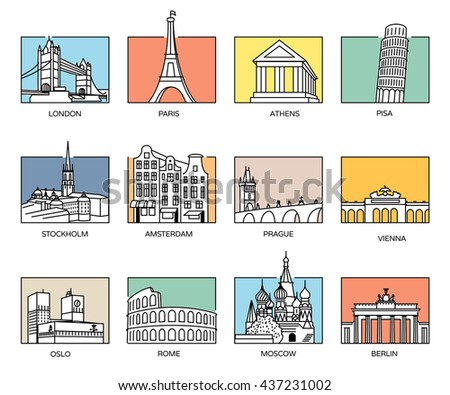 Europe landmarks and favorite travel destinations in line icons style and flat colour rectangle backgrounds. - stock vector