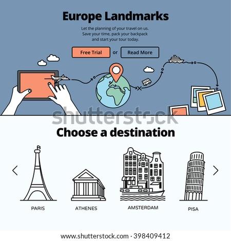 Europe landmarks and favorite travel destinations. Travel planning illustration - stock vector