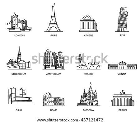 europe landmarks coloring pages | radoma's Portfolio on Shutterstock