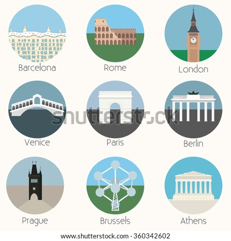 Europe Landmarks Icons Set - Vector EPS10 - stock vector