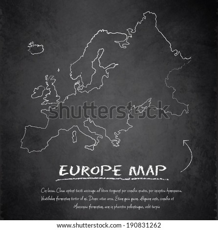 Europe map blackboard chalkboard vector - stock vector