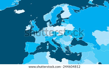 Europe Map - Blue Cyan with white outlines - stock vector