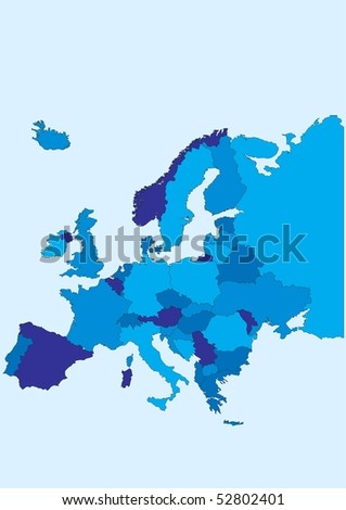 Europe map. Each country in a identified separate layer for easy editing. - stock vector