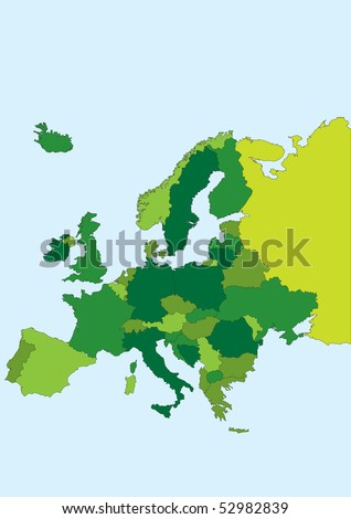 Europe map.Each country in a separate layer for easy editing. - stock vector