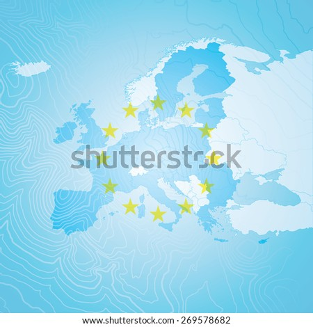 Europe Map - EU Stars with EU Countries - stock vector