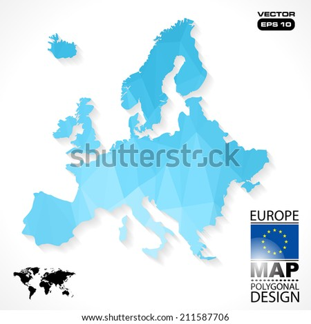 Europe map geometric polygonal design in vector format - stock vector