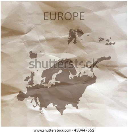 Europe map on paper. Map of the Europe on papyrus. Vector illustration. - stock vector