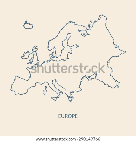 EUROPE MAP OUTLINE VECTOR - stock vector