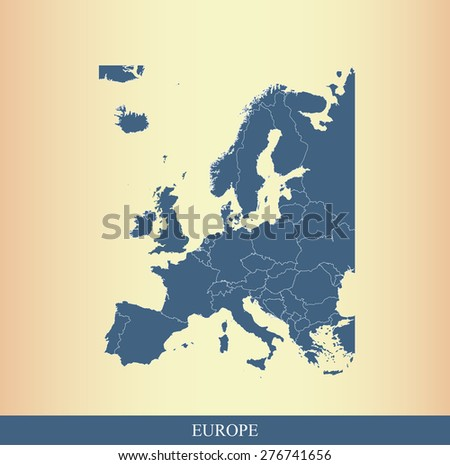 Europe map outlines with borders or boundaries of European countries on an abstract background, EU vector map - stock vector