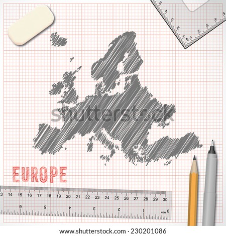 Europe map sketch effect on graph paper background in vector format - stock vector