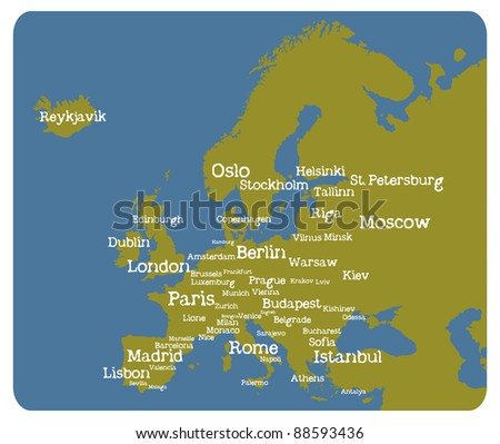 Europe map with cities - stock vector