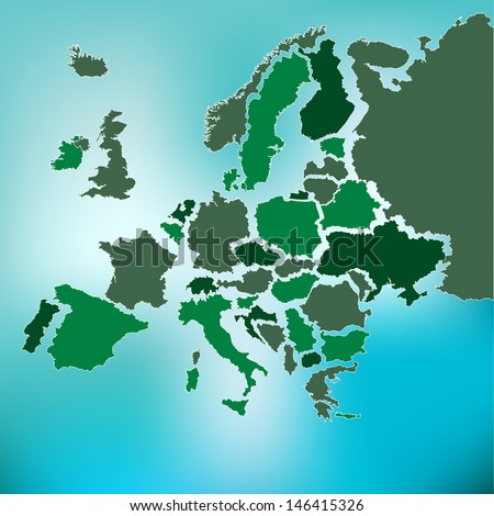 Europe map with each country in named separate layers.Eps8 - stock vector