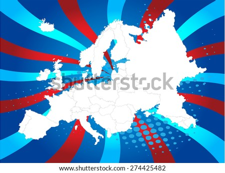 Europe Map with High Detail and Captivating Background - Vectors - stock vector