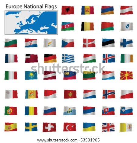 Europe National Flags Vector isolated on white